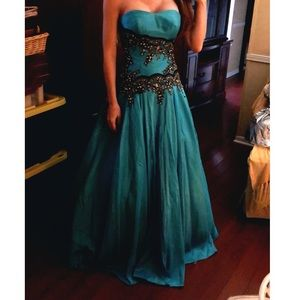 Dresses & Skirts - Blue with Black Lace Prom Dress